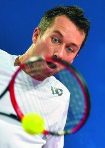 Volle Konzentration: Seine Einzelbilanz lautet 330:265. 2012 war er die Nummer 16 der Welt. Kohlschreiber gewann in seiner Karriere Turniere in Halle, München, Düsseldorf und Auckland.