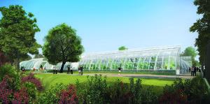 """Gewächshaus? Nicht ganz. Hinter der Glasfassade verbirgt sich das Stadion """"Court de Serres"""", das neu entstehen wird."""