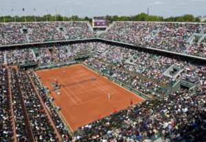 General view of the centre court taken during the French Tennis Open round of sixteen match between Spain's Rafael Nadal (up) and Japan's Nishikori Kei at the Roland Garros stadium in Paris, on June 3, 2013. AFP PHOTO / MIGUEL MEDINA (Photo credit should read MIGUEL MEDINA/AFP/Getty Images)