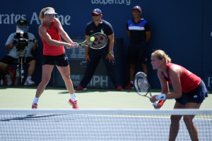 September 9, 2015 - Anna-Lena Groenefeld and Coco Vandeweghe in action against Caroline Garcia and Katarina Srebotnik in a women's doubles quarterfinal match during the 2015 US Open at the USTA Billie Jean King National Tennis Center in Flushing, NY. (USTA/Andrew Ong)