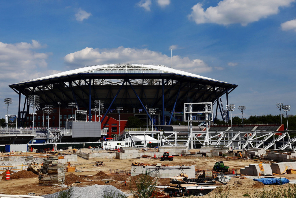 NEW YORK, NY - AUGUST 29:  Construction of the new Grandstand court is seen in front of the newly roofed Arthur Ashe Stadium at USTA Billie Jean King National Tennis Center on August 29, 2015 in the Flushing neighborhood of the Queens borough of New York City. The new 8,000-seat show court is expected to be completed for the 2016 U.S. Open.  (Photo by Michael Heiman/Getty Images)