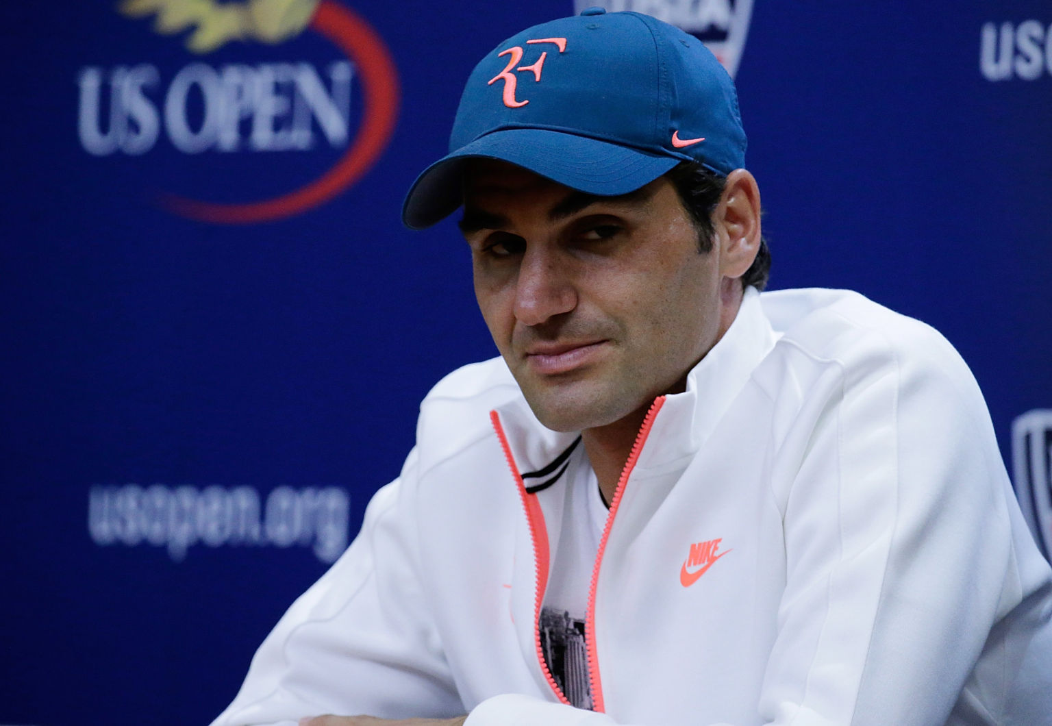 NEW YORK, NY - AUGUST 29:  Professional tennis player Roger Federer attends a press conference during the 2015 US Open at the USTA Billie Jean King National Tennis Center on August 29, 2015 in the Queens borough of New York City.  (Photo by John Lamparski/WireImage)