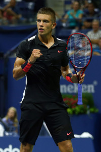 NEW YORK, NY - AUGUST 31:  Borna Coric of Croatia celebrates after a point against Rafael Nadal of Spain during their Men's Singles First Round match on Day One of the 2015 US Open at the USTA Billie Jean King National Tennis Center on August 31, 2015 in the Flushing neighborhood of the Queens borough of New York City.  (Photo by Clive Brunskill/Getty Images)
