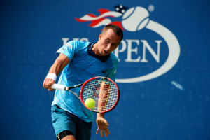 NEW YORK, NY - SEPTEMBER 01:  Philipp Kohlschreiber of Germany returns a shot against  Alexander Zverev of Germany during their Men's Singles First Round match on Day Two of the 2015 US Open at the USTA Billie Jean King National Tennis Center on September 1, 2015 in the Flushing neighborhood of the Queens borough of New York City.  (Photo by Alex Goodlett/Getty Images)