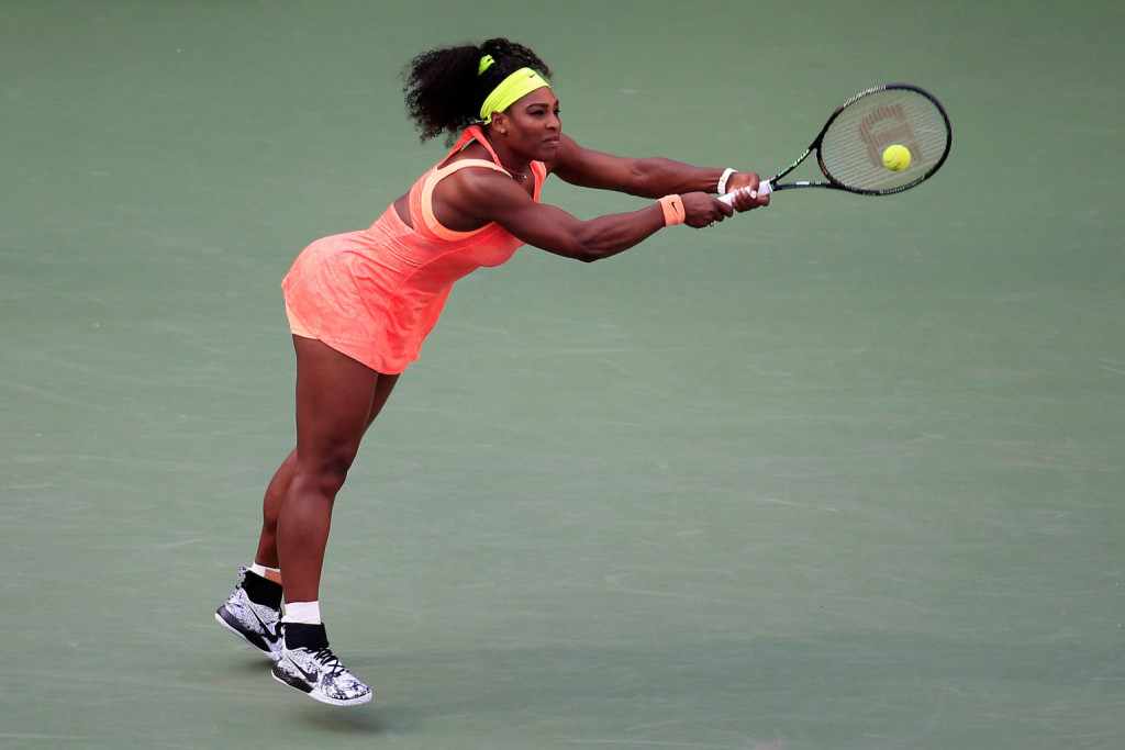 NEW YORK, NY - SEPTEMBER 06:  Serena Williams of the United States returns a shot to Madison Keys of the United States during their Women's Singles Fourth Round match on Day Seven of the 2015 U.S. Open at the USTA Billie Jean King National Tennis Center on September 6, 2015 in the Flushing neighborhood of the Queens borough of New York City.  (Photo by Chris Trotman/Getty Images for the USTA)