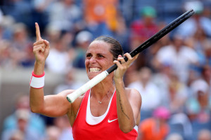NEW YORK, NY - SEPTEMBER 08:  Roberta Vinci of Italy celebrates after defeating Kristina Mladenovic of France in their Women's Singles Quarterfinals Round match on Day Nine of the 2015 US Open at the USTA Billie Jean King National Tennis Center on September 8, 2015 in the Flushing neighborhood of the Queens borough of New York City.  (Photo by Matthew Stockman/Getty Images)