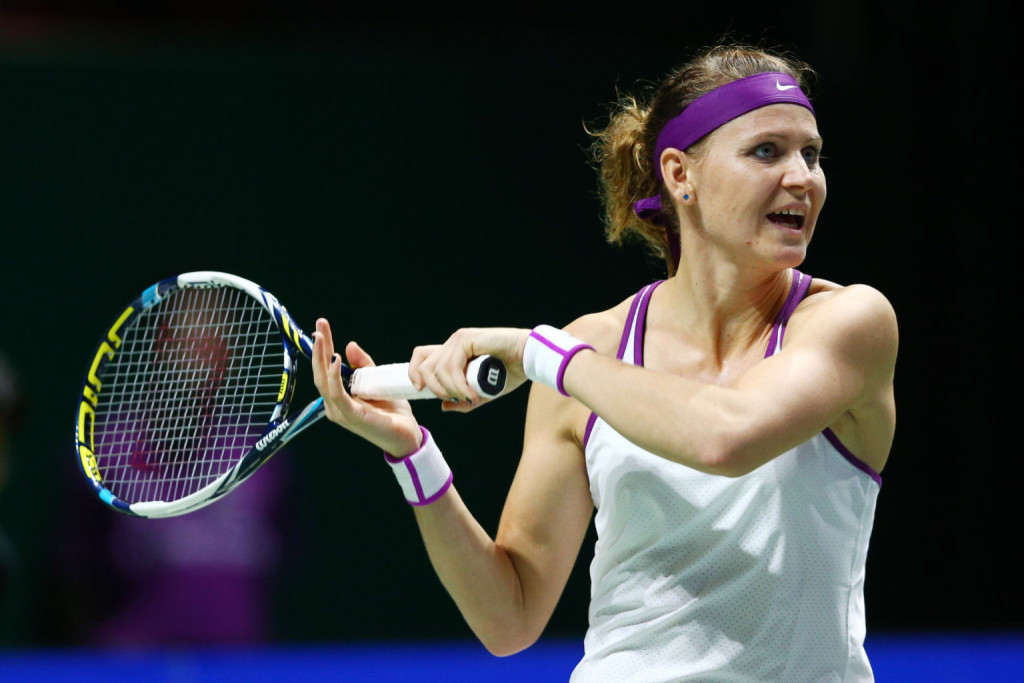 during the BNP Paribas WTA Finals at Singapore Sports Hub on October 30, 2015 in Singapore.