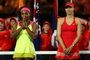 MELBOURNE, AUSTRALIA - JANUARY 31:  Serena Williams of the United States and Maria Sharapova of Russia stand at the presentation after Williams won their women's final match during day 13 of the 2015 Australian Open at Melbourne Park on January 31, 2015 in Melbourne, Australia.  (Photo by Cameron Spencer/Getty Images)