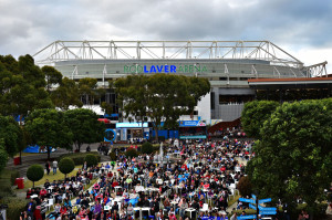 MELBOURNE, AUSTRALIA - FEBRUARY 01:  General view of crowds in Garden Square watching mens final between Novak Djokovic of Serbia and Andy Murray of Great Britain during the 2015 Australian Open at Melbourne Park on February 1, 2015 in Melbourne, Australia.  (Photo by Vince Caligiuri/Getty Images)