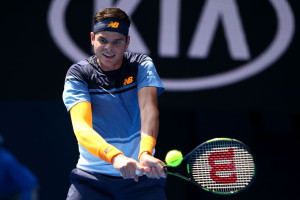 MELBOURNE, AUSTRALIA - JANUARY 25:  Milos Raonic of Canada plays a backhand in his fourth round match against Stan Wawrinka of Switzerland during day eight of the 2016 Australian Open at Melbourne Park on January 25, 2016 in Melbourne, Australia.  (Photo by Mark Kolbe/Getty Images)
