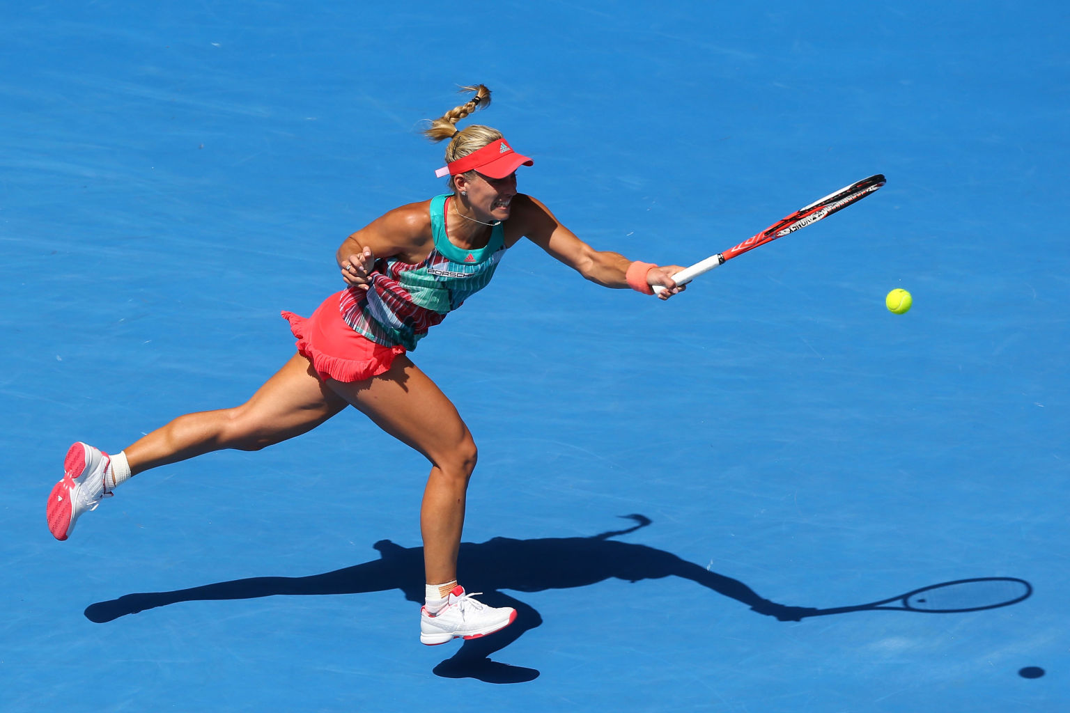 MELBOURNE, AUSTRALIA - JANUARY 27:  Angelique Kerber of Germany plays a forehand in her quarter final match against Victoria Azarenka of Belarus during day 10 of the 2016 Australian Open at Melbourne Park on January 27, 2016 in Melbourne, Australia.  (Photo by Michael Dodge/Getty Images)