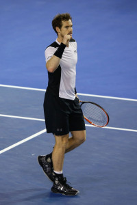 MELBOURNE, AUSTRALIA - JANUARY 29:  Andy Murray of Great Britain celebrates winning his semi final match against Milos Raonic of Canada during day 12 of the 2016 Australian Open at Melbourne Park on January 29, 2016 in Melbourne, Australia.  (Photo by Jack Thomas/Getty Images)