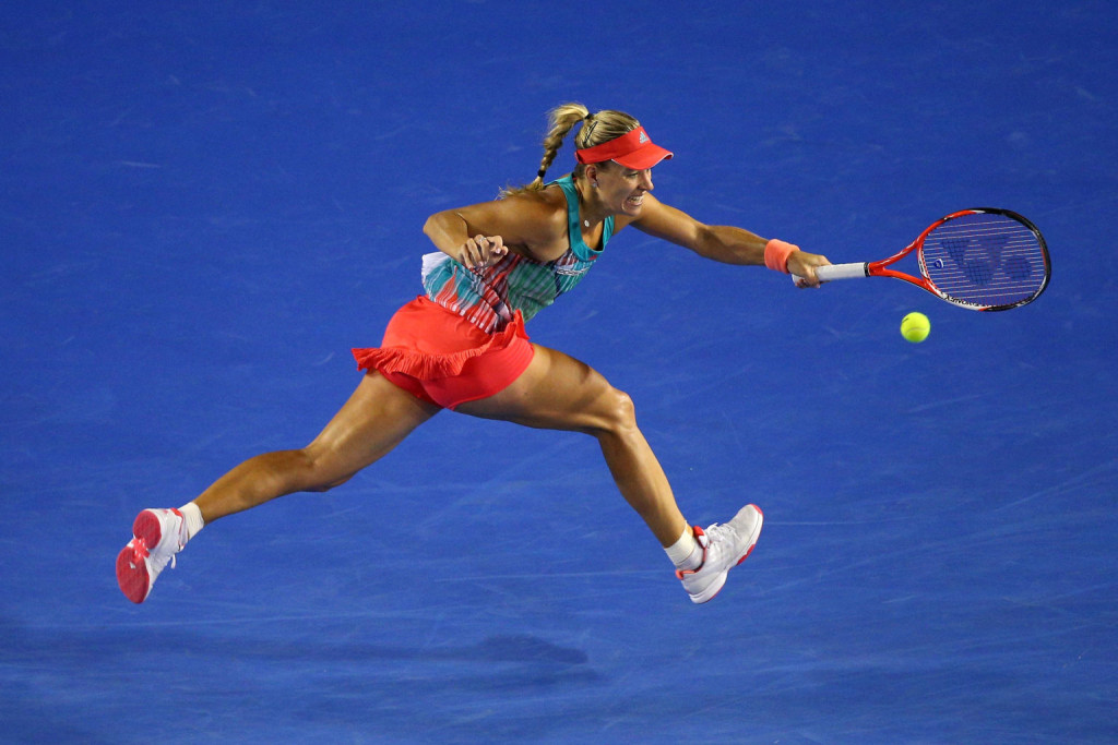 MELBOURNE, AUSTRALIA - JANUARY 30:  Angelique Kerber of Germany plays a forehand in her Women's Singles Final match against Serena Williams of the United States during day 13 of the 2016 Australian Open at Melbourne Park on January 30, 2016 in Melbourne, Australia.  (Photo by Cameron Spencer/Getty Images)