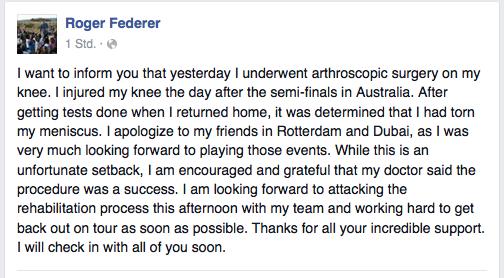 Meniskusriss: Federer