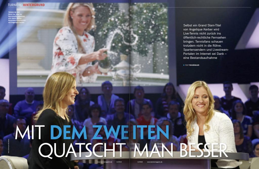 tennis MAGAZIN 4/2016: Kein Platz für Livetennis bei ARD und ZDF