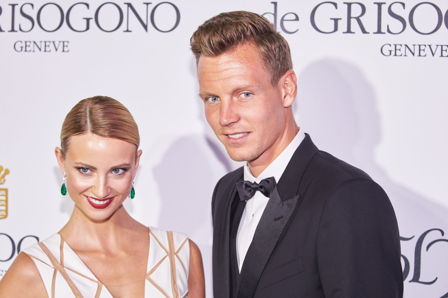 CAP D'ANTIBES, FRANCE - MAY 19: Czech tennis player Tomas Berdych and girlfriend Ester Satorova attend the De Grisogono party during the 68th annual Cannes Film Festival on May 19, 2015 in Cap d'Antibes, France.(Photo by Oleg Nikishin/Kommersant Photo via Getty Images)