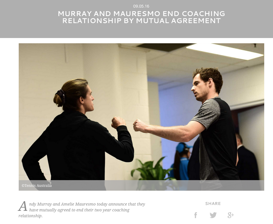 Murray und Mauresmo gehen getrennte Wege