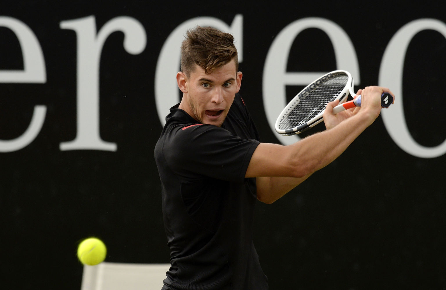 STUTTGART, GERMANY - JUNE 12: Dominic Thiem of Austria returns against Philipp Kohlschreiber of Germany during the final on day 9 of Mercedes Cup 2016 on June 12, 2016 in Stuttgart, Germany. (Photo by Daniel Kopatsch/Bongarts/Getty Images)