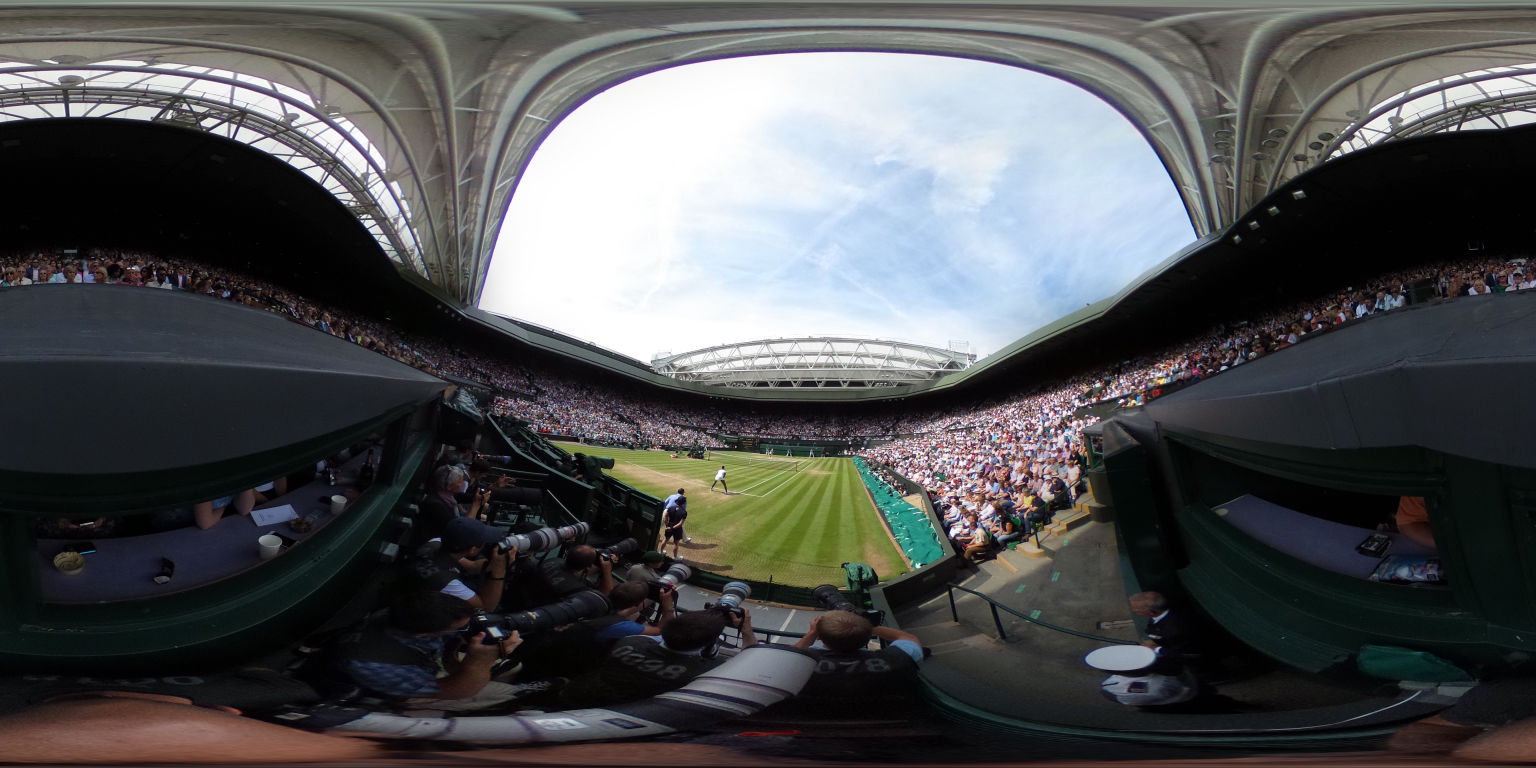 LONDON, ENGLAND - JULY 07:  (EDITOR'S NOTE: Image was created as an Equirectangular Panorama. Import image into a panoramic player to create an interactive 360 degree view.)   Venus Williams of The United States waits to receive serve during the Ladies Singles Semi Final match against Angelique Kerber of Germany on day ten of the Wimbledon Lawn Tennis Championships at the All England Lawn Tennis and Croquet Club on July 7, 2016 in London, England.  (Photo by Clive Brunskill/Getty Images)