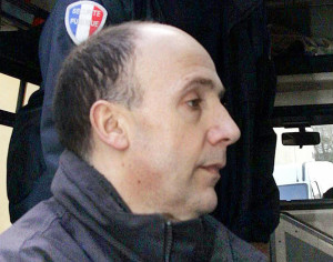 Mont-de-Marsan, FRANCE:  Christophe Fauviau, accused of administering anxiolytics to the tennis adversaries of his children, arrives 01 March 2006 at the court house in Mont-de-Marsan for the beginning of his trial. Fauviau is also charged with the accidental death of Alexandre Lagardere who was drugged prior to a match against his son and later died after losing control of his vehicle presumably due to the effect of the drug, Temesta. Fauviau, 45, faces up to 20 years incarceration.   AFP PHOTO MICHEL GANGNE  (Photo credit should read MICHEL GANGNE/AFP/Getty Images)