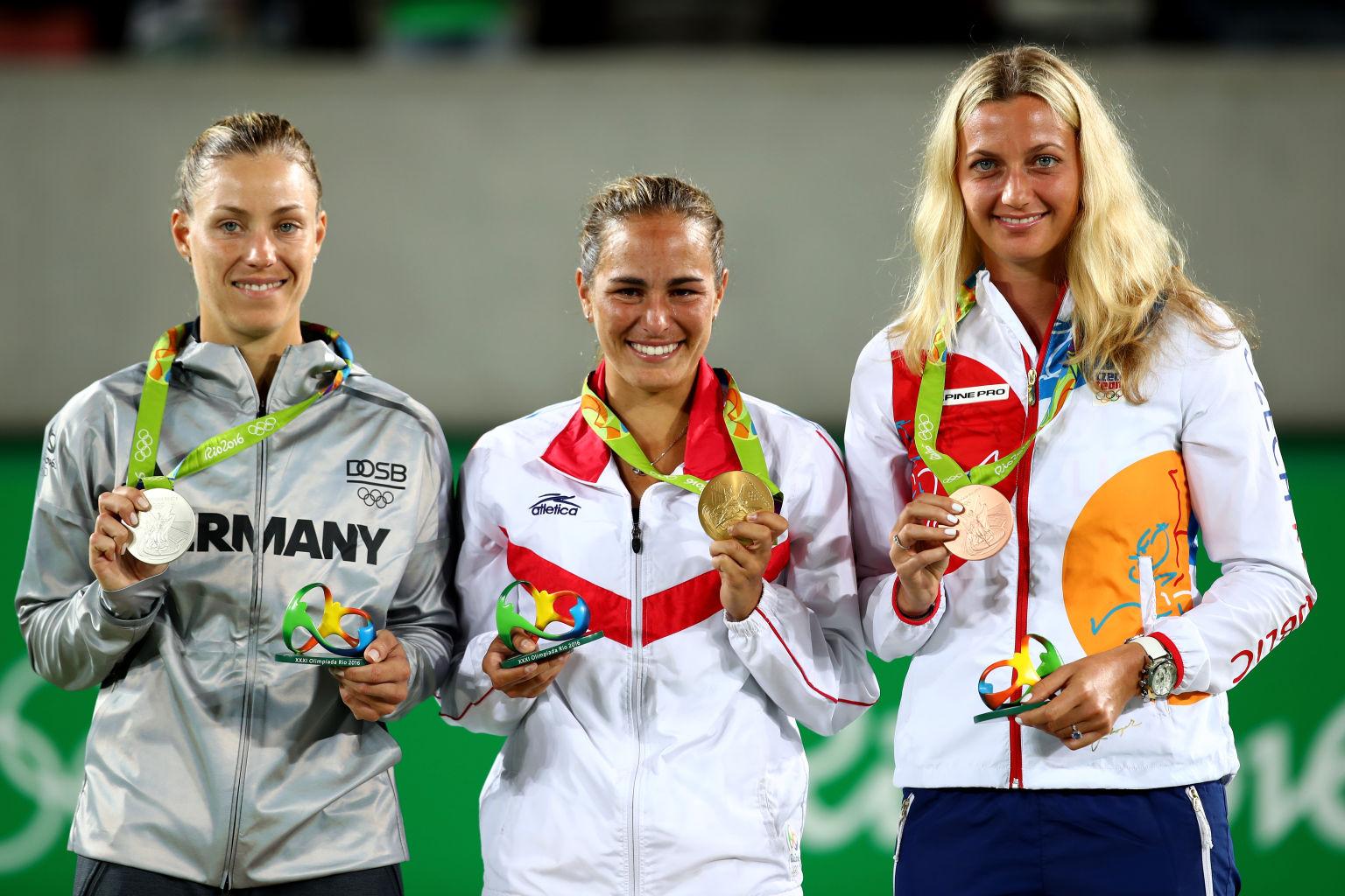 Angie Kerber mit Silber, Monica Puig aus Puerto Rico mit Gold und Petra Kvitova aus Tschechien mit Bronze