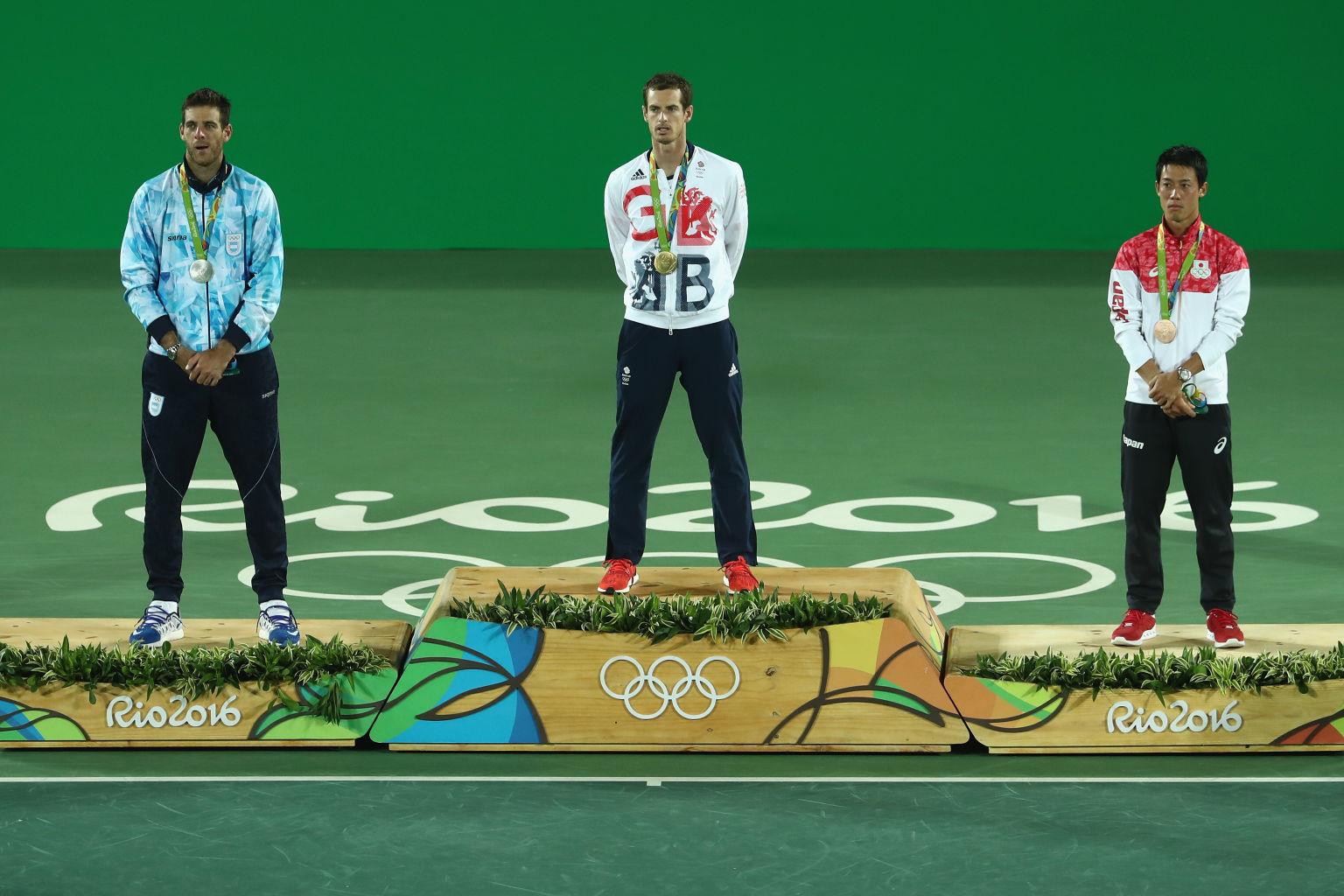 Die Medaillengewinner im Herren-Einzel in Rio: Del Potro (Silber), Murray, Nishikori (Bronze)  (v.l.).