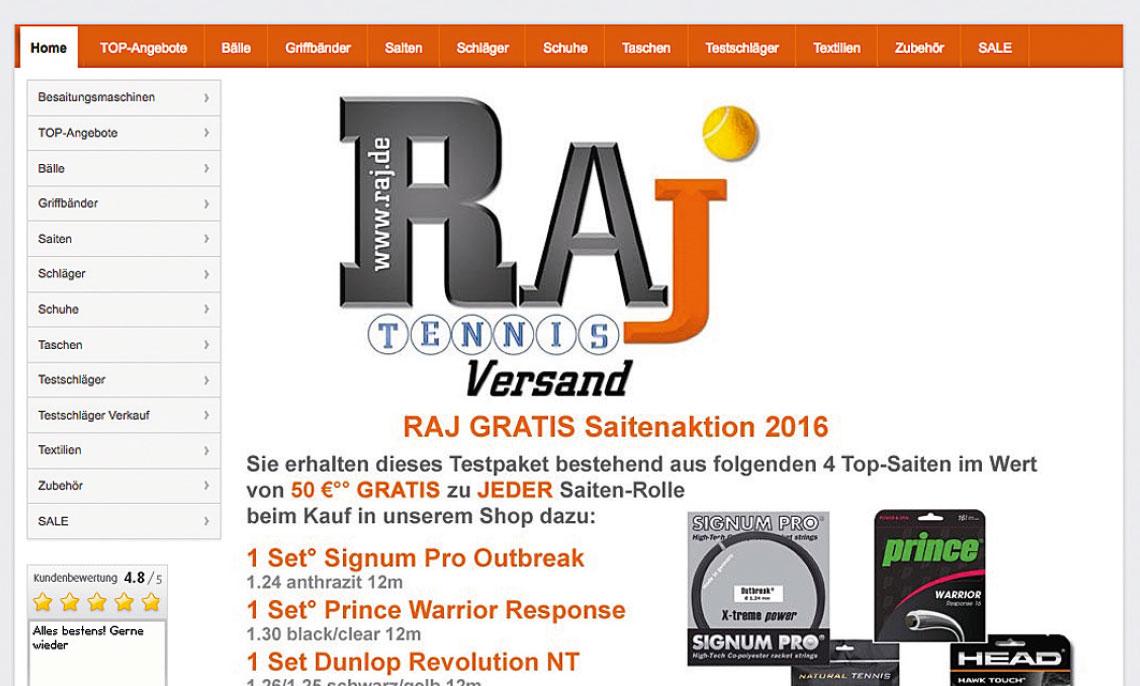 Gutschein für den RAJ Tennisversand