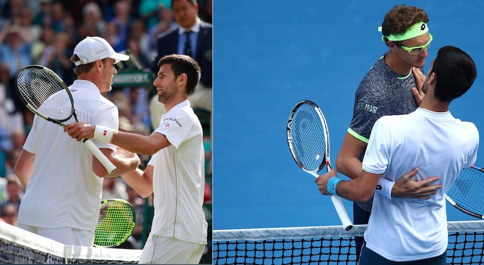 Die Bilder gleichen sich: Novak Djokovic nach seiner Pleite gegen Querrey in Wimbledon (li.) und jüngst gegen Istomin.