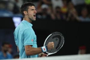 Djokovic ballt die Faust nach seinem Sieg gegen Fernando Verdasco.