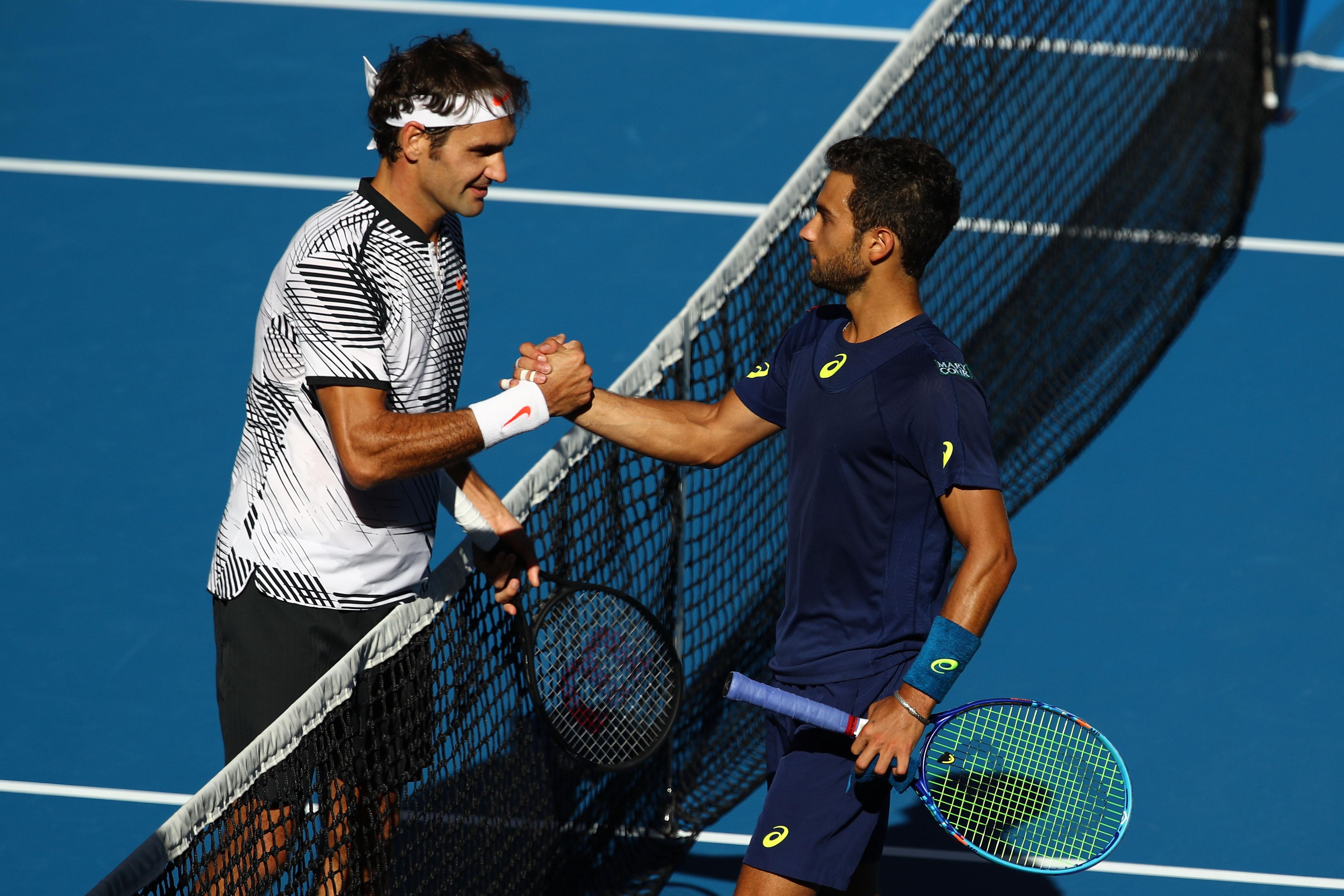 Federer hatte gegen Noah Rubin seine Probleme, doch der Schweizer geann das Match in drei Sätzen.