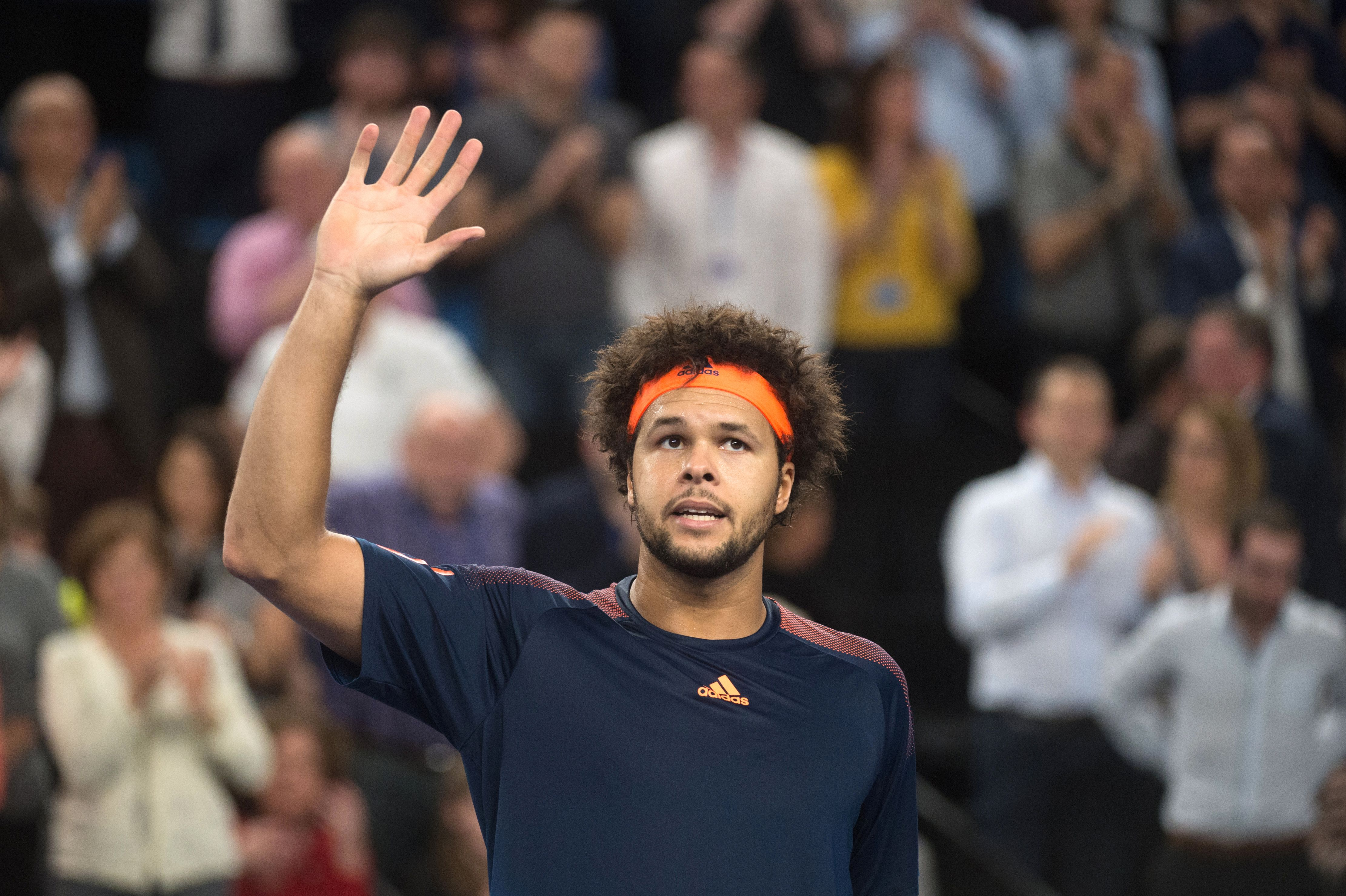 France's Jo-Wilfried Tsonga celebrates during his ATP Marseille Open 13 semi-final tennis match against Australia's Nick Kyrgios in Marseille, southern France, on February 25, 2017. / AFP / BERTRAND LANGLOIS (Photo credit should read BERTRAND LANGLOIS/AFP/Getty Images)