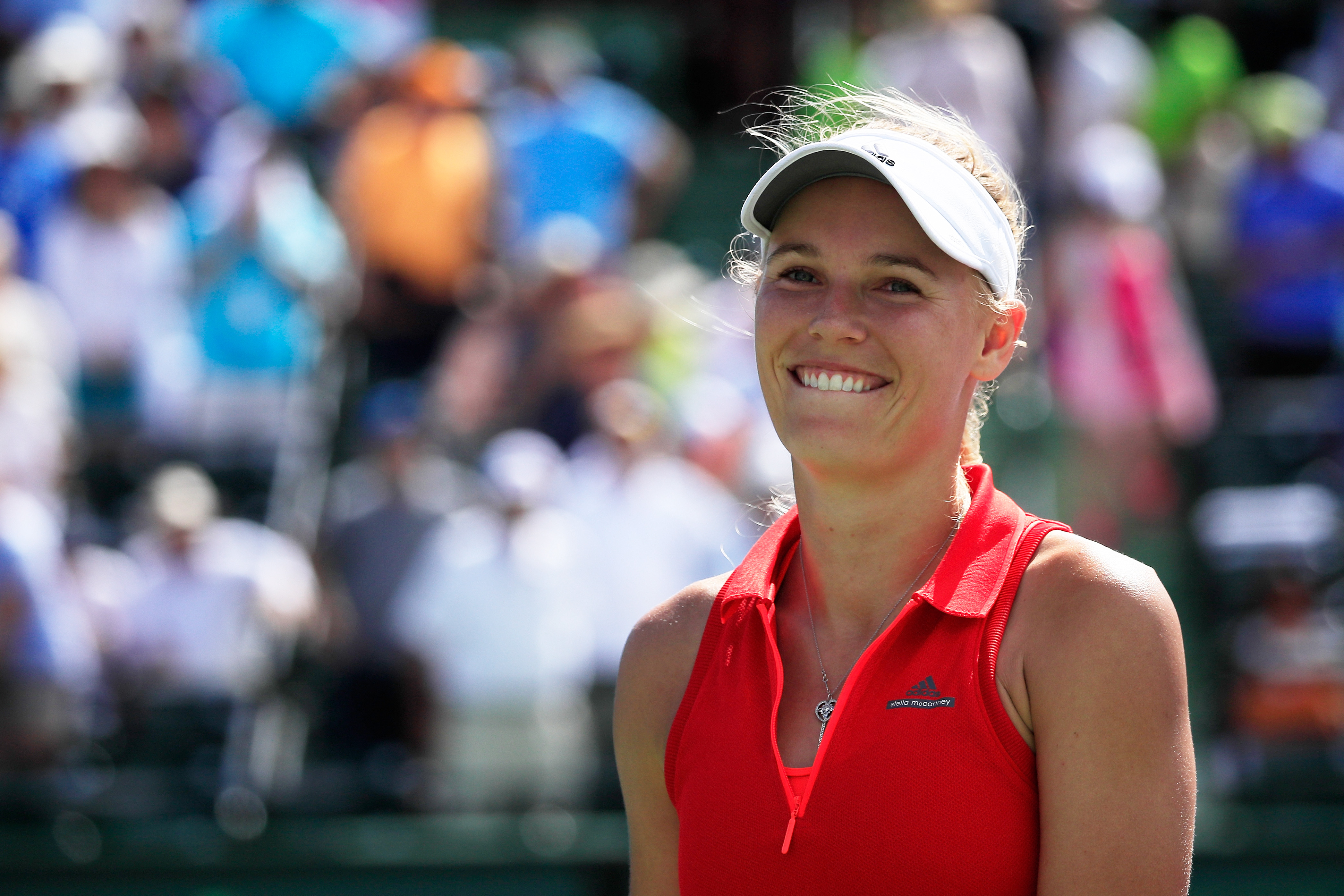 KEY BISCAYNE, FL - MARCH 30: Caroline Wozniacki of Denmark celebrates defeating Karolina Pliskova of Czech Republic in the semi finals during Day 11 of the Miami Open at Crandon Park Tennis Center on March 30, 2017 in Key Biscayne, Florida. (Photo by Cliff Hawkins/Getty Images)