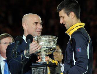 Djokovic und Agassi: Kompetente Hilfe für einen Suchenden