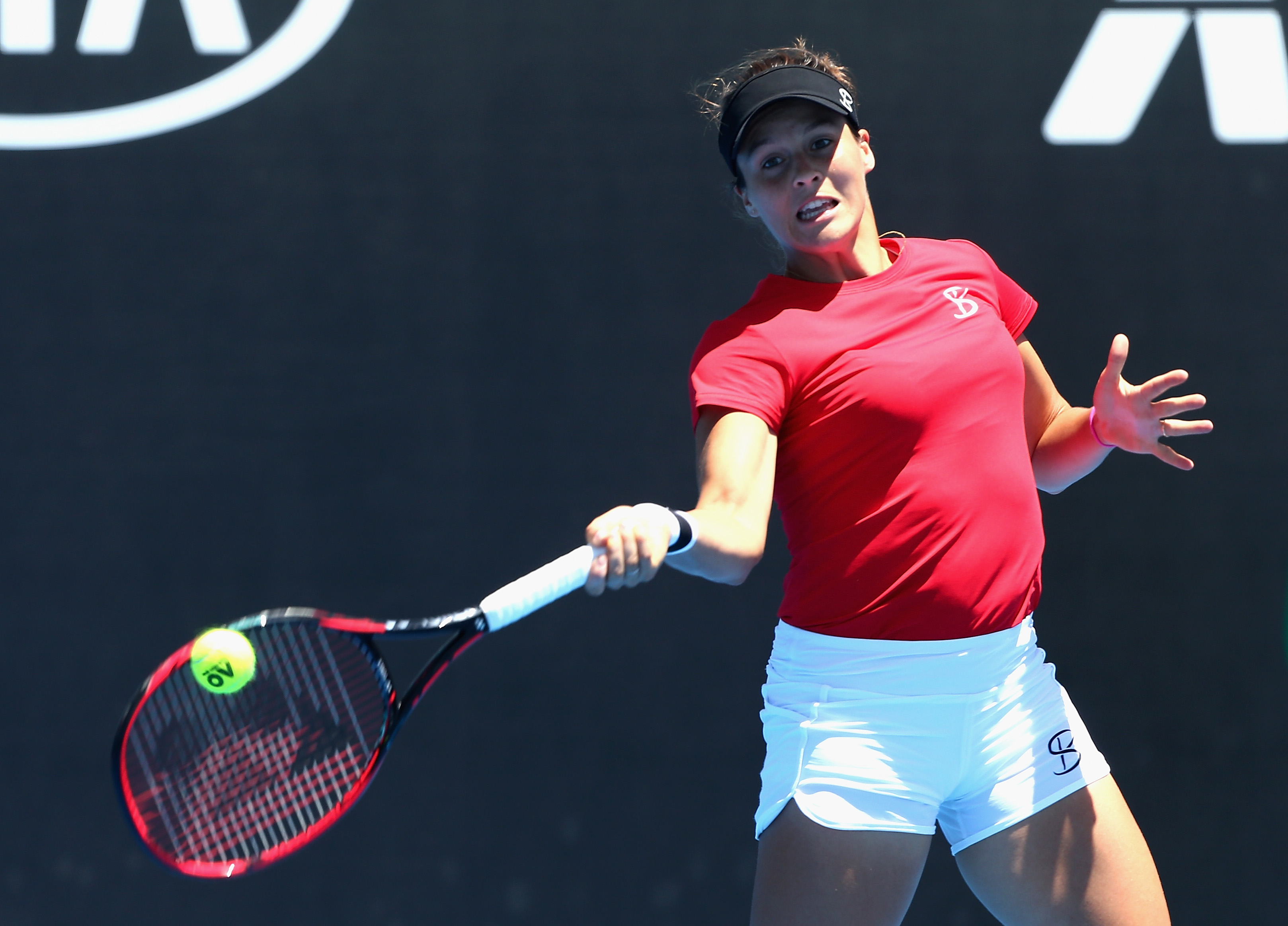 MELBOURNE, AUSTRALIA - JANUARY 12: Tatjana Maria of Germany plays a forehand in her 2017 Australian Open Qualifying match against Ksenia Pervak of Russia at Melbourne Park on January 12, 2017 in Melbourne, Australia. (Photo by Robert Prezioso/Getty Images)