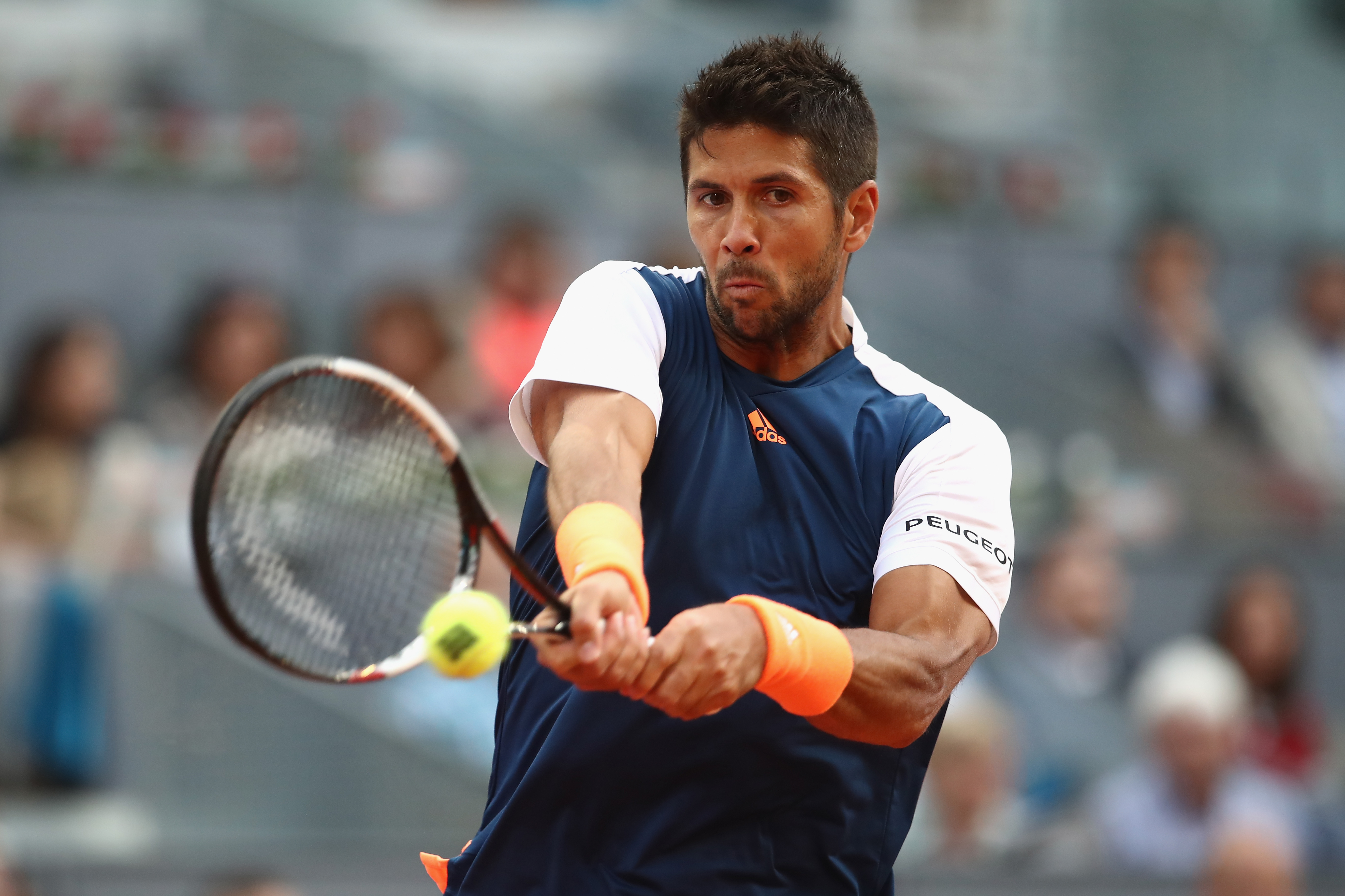MADRID, SPAIN - MAY 09: Fernando Verdasco of Spain in action against Alexander Zverev of Germany during day four of the Mutua Madrid Open tennis at La Caja Magica on May 9, 2017 in Madrid, Spain. (Photo by Julian Finney/Getty Images)