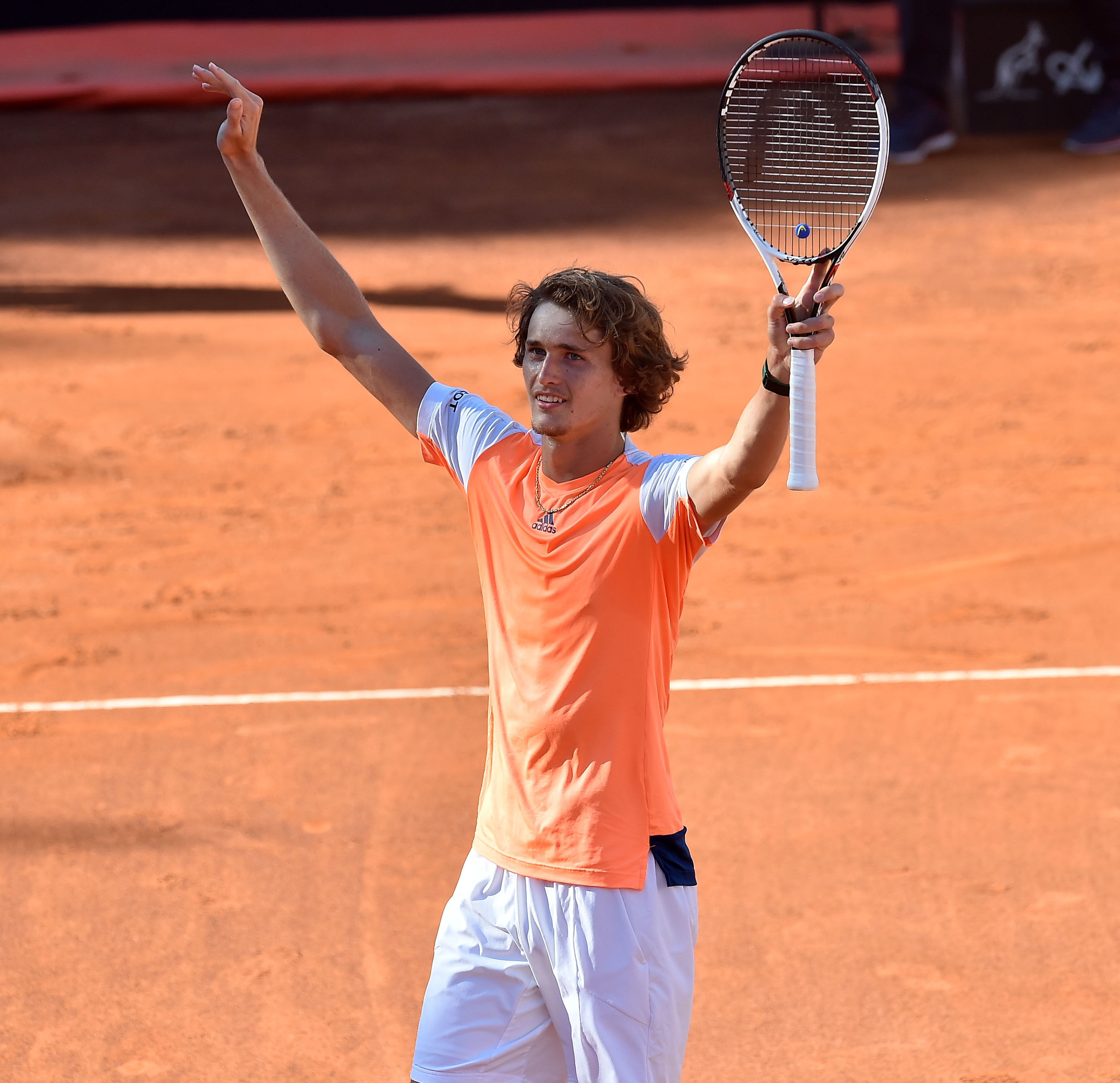 ROME, ITALY - MAY 21: Alexander Zverev of Germany celebrates after winning the ATP Singles Final match between Alexander Zverev of Germany and Novak Djokovic of Serbia during The Internazionali BNL d'Italia 2017 - Day Eight at Foro Italico on May 21, 2017 in Rome, Italy. (Photo by Giuseppe Bellini/Getty Images)