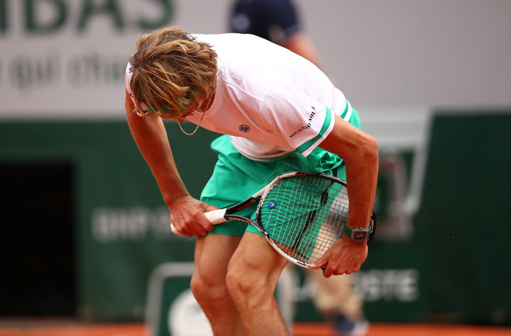 PARIS, FRANCE - MAY 30: Alexander Zverev of Germany breaks his racket during the first round match against Fernando Verdasco of spain on day three of the 2017 French Open at Roland Garros on May 30, 2017 in Paris, France. (Photo by Clive Brunskill/Getty Images)