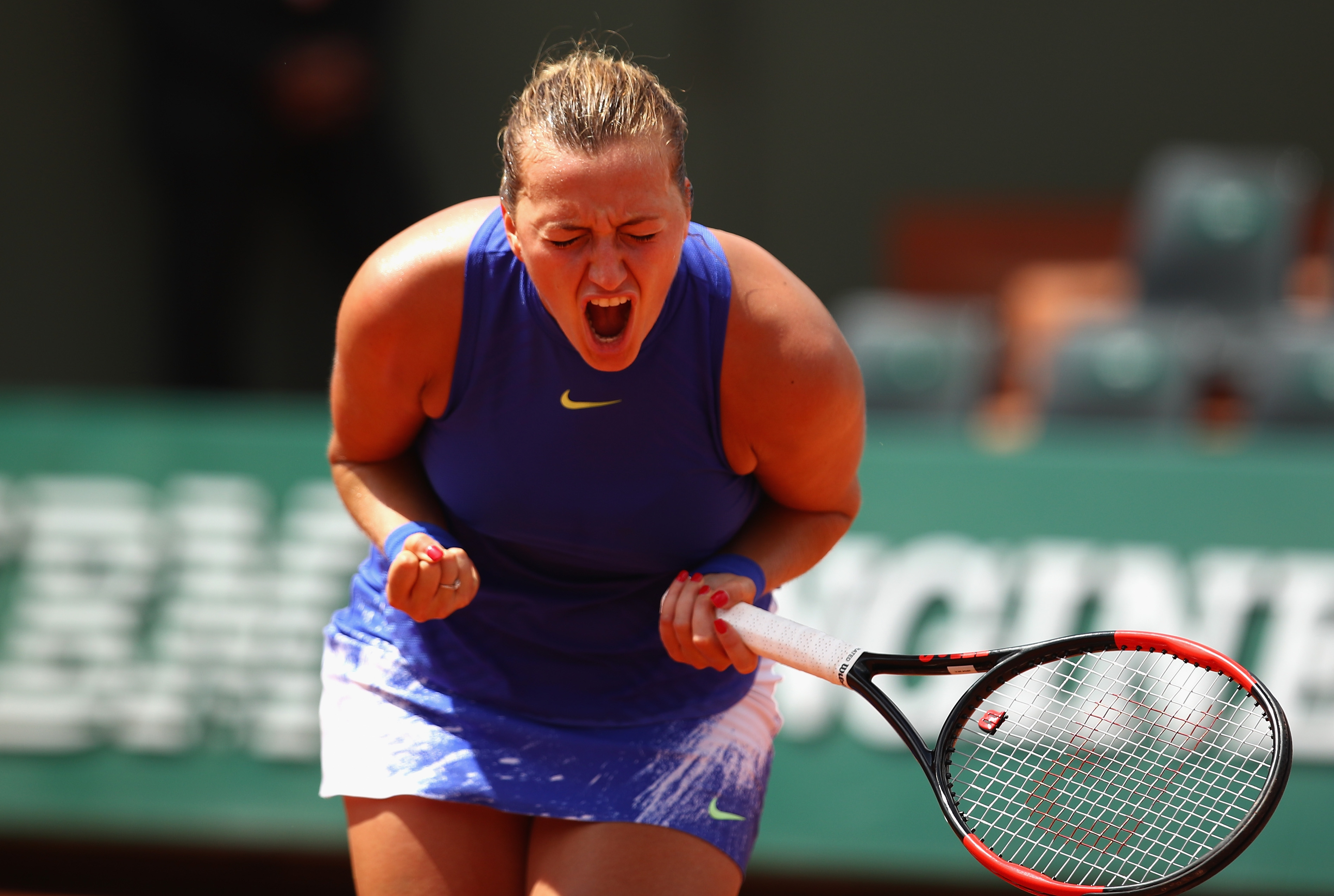 PARIS, FRANCE - MAY 31: Petra Kvitova of The Czech Republic shows her emotions during the ladies singles second round match against Bethanie Mattek-Sands of The United States on day four of the 2017 French Open at Roland Garros on May 31, 2017 in Paris, France. (Photo by Clive Brunskill/Getty Images)