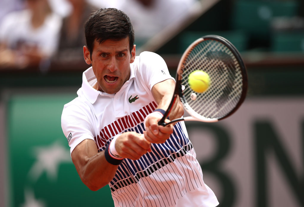 PARIS, FRANCE - MAY 29: Novak Djokovic of Serbia hits a backhand during the first round match against Marcel Granollers of Spain on day two of the 2017 French Open at Roland Garros on May 29, 2017 in Paris, France. (Photo by Julian Finney/Getty Images)