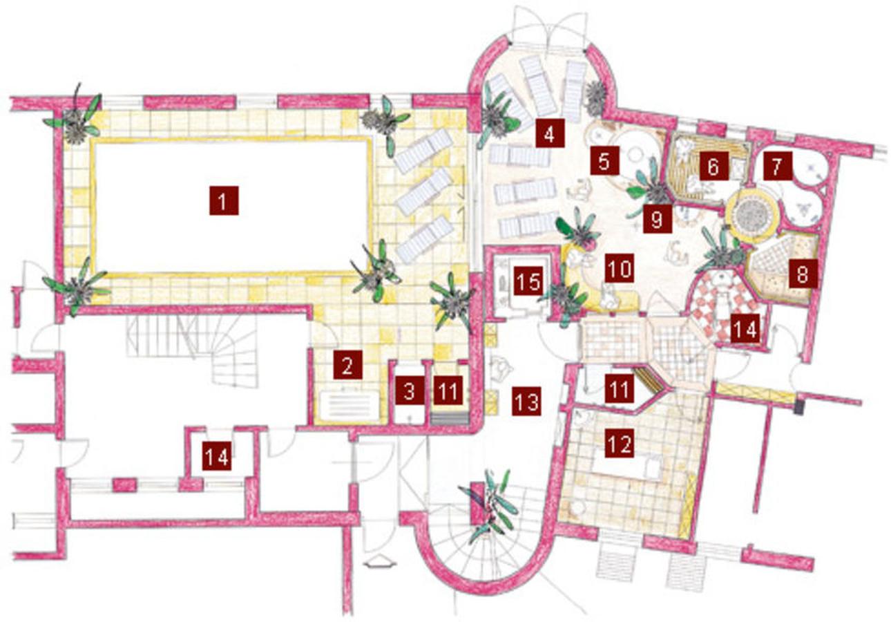 1. Hallenbad - 2. Solarium - 3. Dusche - 4. Ruheraum - 5. Kneippbecken - 6. Finnische Sauna - 7. Erlebnisdusche - 8. Türkisches Dampfbad - 9. Desinfektion - 10. Wärmebank - 11. Umkleideraum (2x) - 12. Massageraum - 13. Schminkbereich - 14. WC (2x) - 15. Aufzug