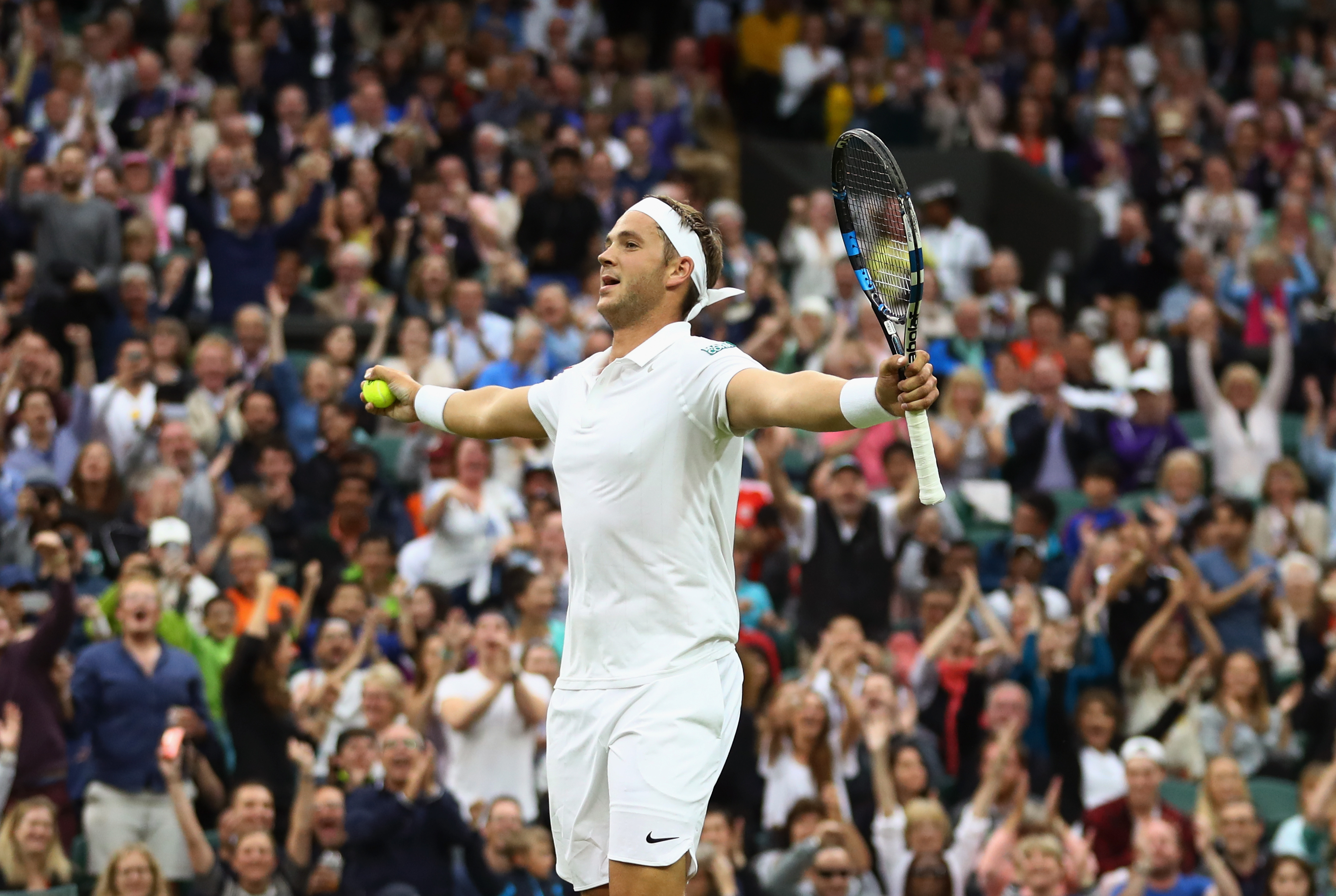LONDON, ENGLAND - JUNE 29: Marcus Willis of Great Britain celebrates winnig a point during the Men's Singles second round match against Roger Federer of Switzerland on day three of the Wimbledon Lawn Tennis Championships at the All England Lawn Tennis and Croquet Club on June 29, 2016 in London, England. (Photo by Julian Finney/Getty Images)