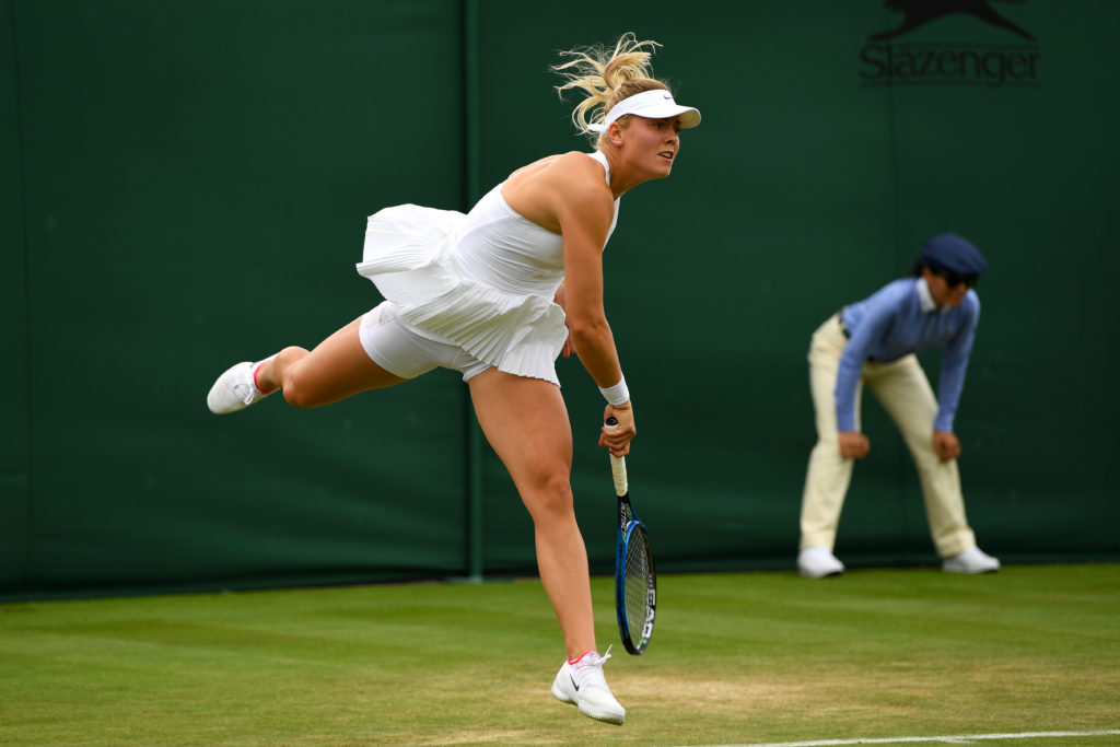 LONDON, ENGLAND - JULY 03: Carina Witthoeft of Germany serves during the Ladies Singles first round match against Mirjana Lucic-Baroni of Croatia on day one of the Wimbledon Lawn Tennis Championships at the All England Lawn Tennis and Croquet Club on July 3, 2017 in London, England. (Photo by Shaun Botterill/Getty Images)