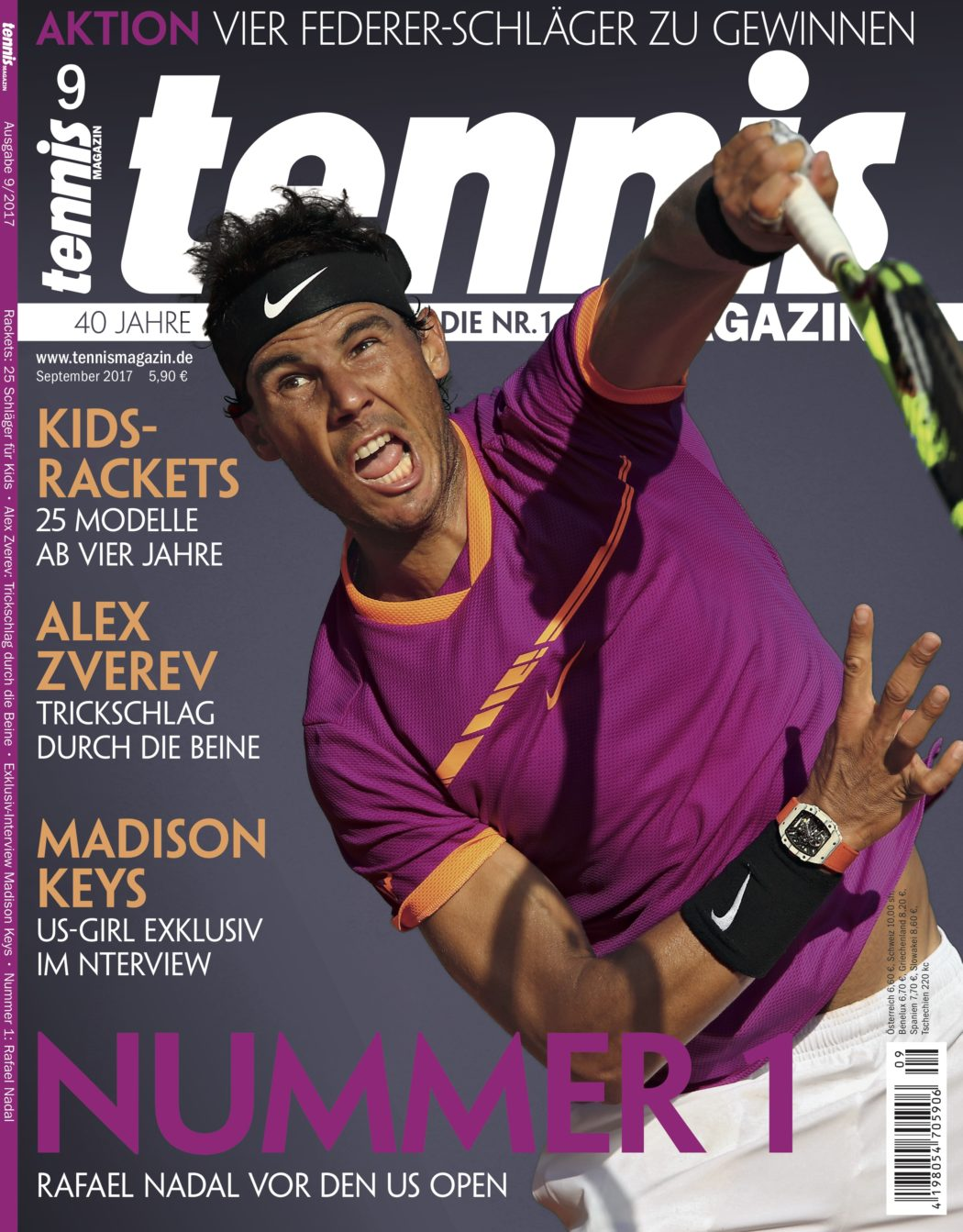 tennis Magazin 9/2017: Nummer 1 – Rafael Nadal vor den US Open