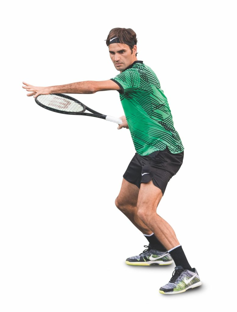 Federer steht bereit den Oberkörper zu rotieren
