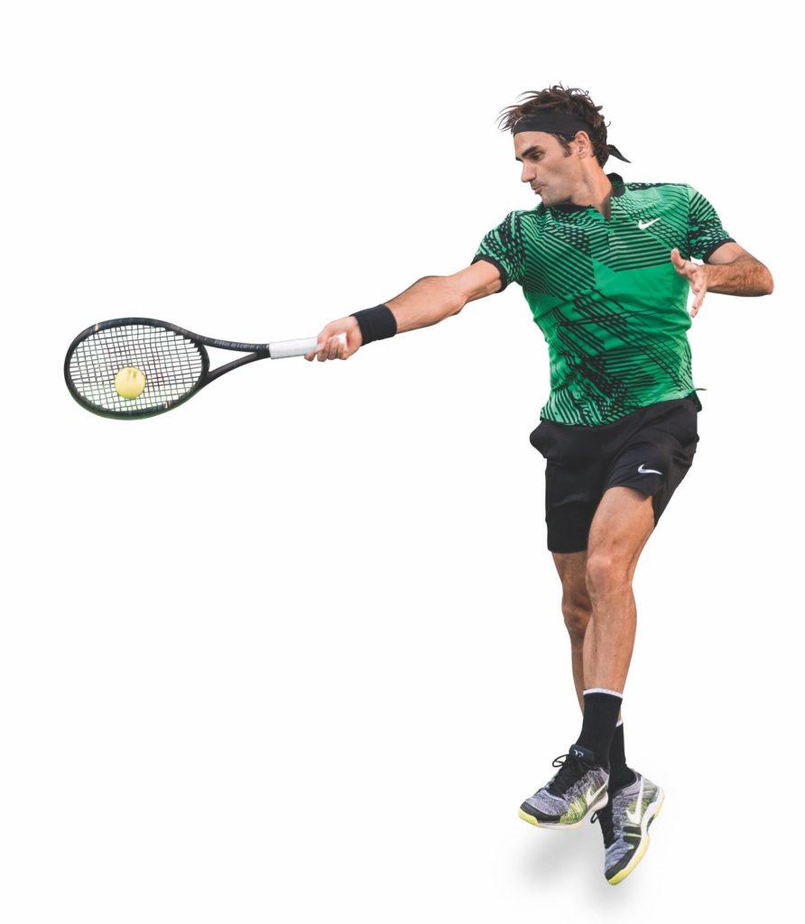 Federer trifft den Ball genau am Sweetspot