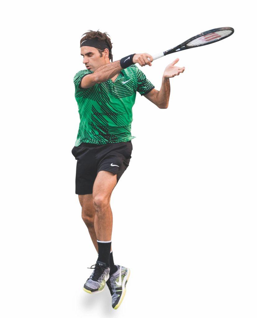 Federer bewegt beim Auschwung nur die Arme
