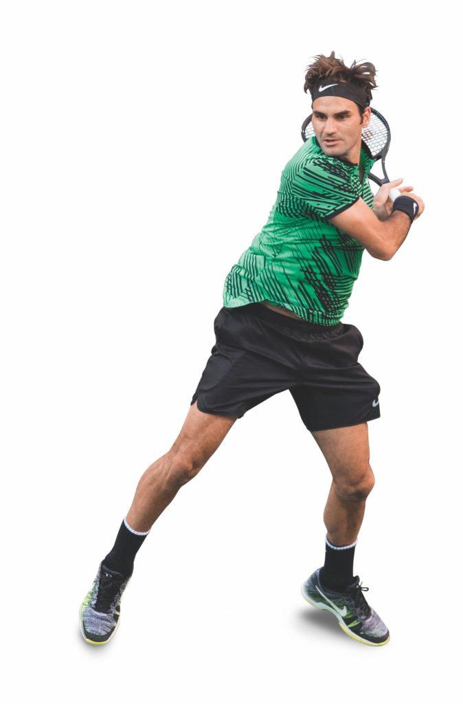 Federer bei der Landung, nach der seine Vorhand gespielt hat