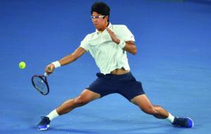 Hyeon Chung Hyeon im Australian Open-Halbfinale gegen Roger Federer.(Photo credit should read PETER PARKS/AFP/Getty Images)