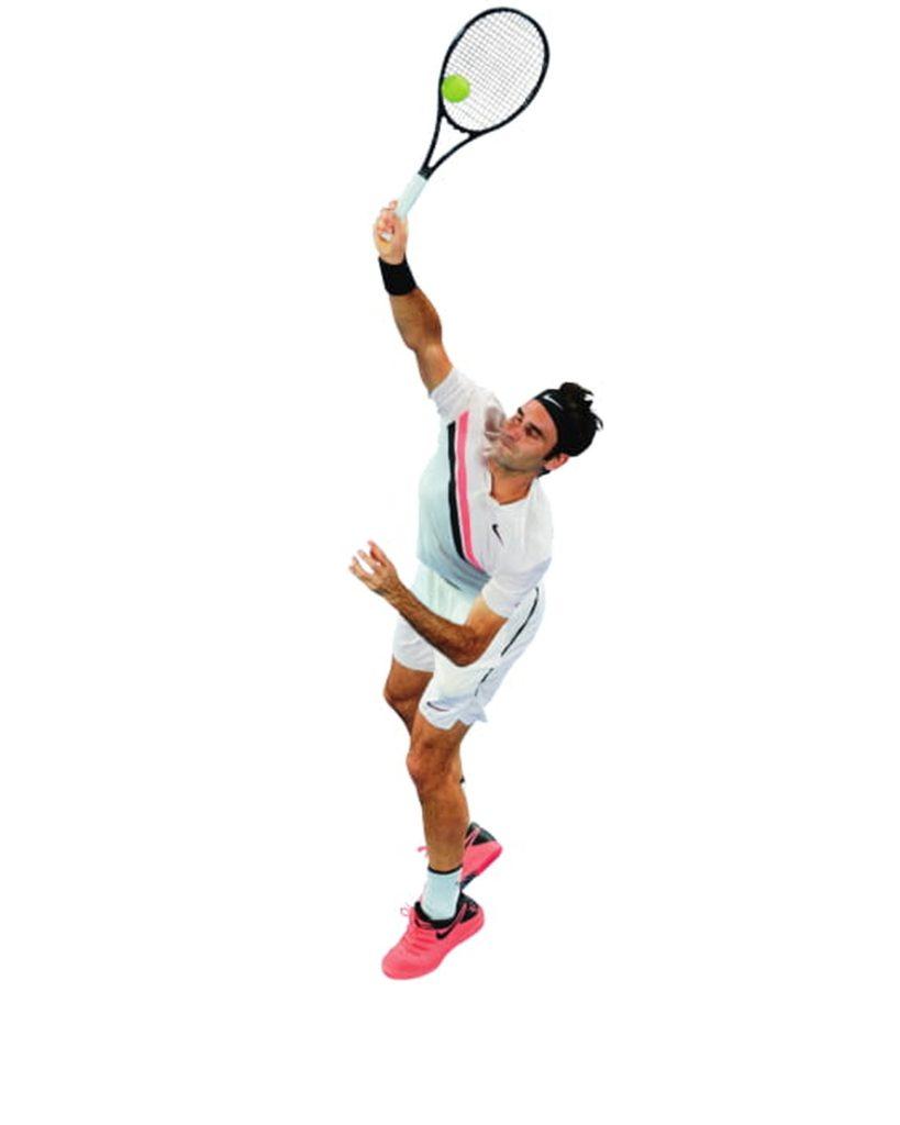 Aufschlag von Roger Federer