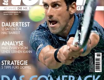 Tennis Magazin 10/2018: Novak Djokovic –das Comeback des Jahres